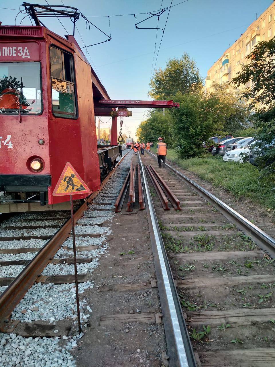 На улице Лермонтова продолжается ремонт трамвайных путей