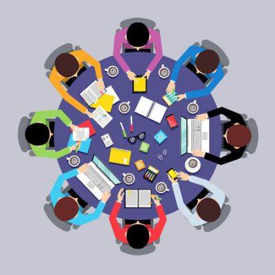 33223665-business-team-brainstorming-travail-d-équipe-notion-vue-de-dessus-groupe-de-personnes-sur-table-ronde-